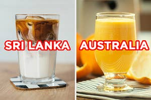 """On the left, an iced coffee in a glass labeled """"Sri Lanka,"""" and on the right, a glass of orange juice labeled """"Australia"""""""