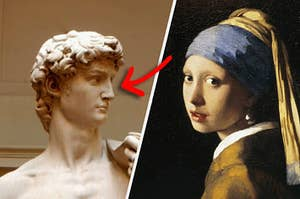 The statue of David next to the painting of the woman with the pearl earring