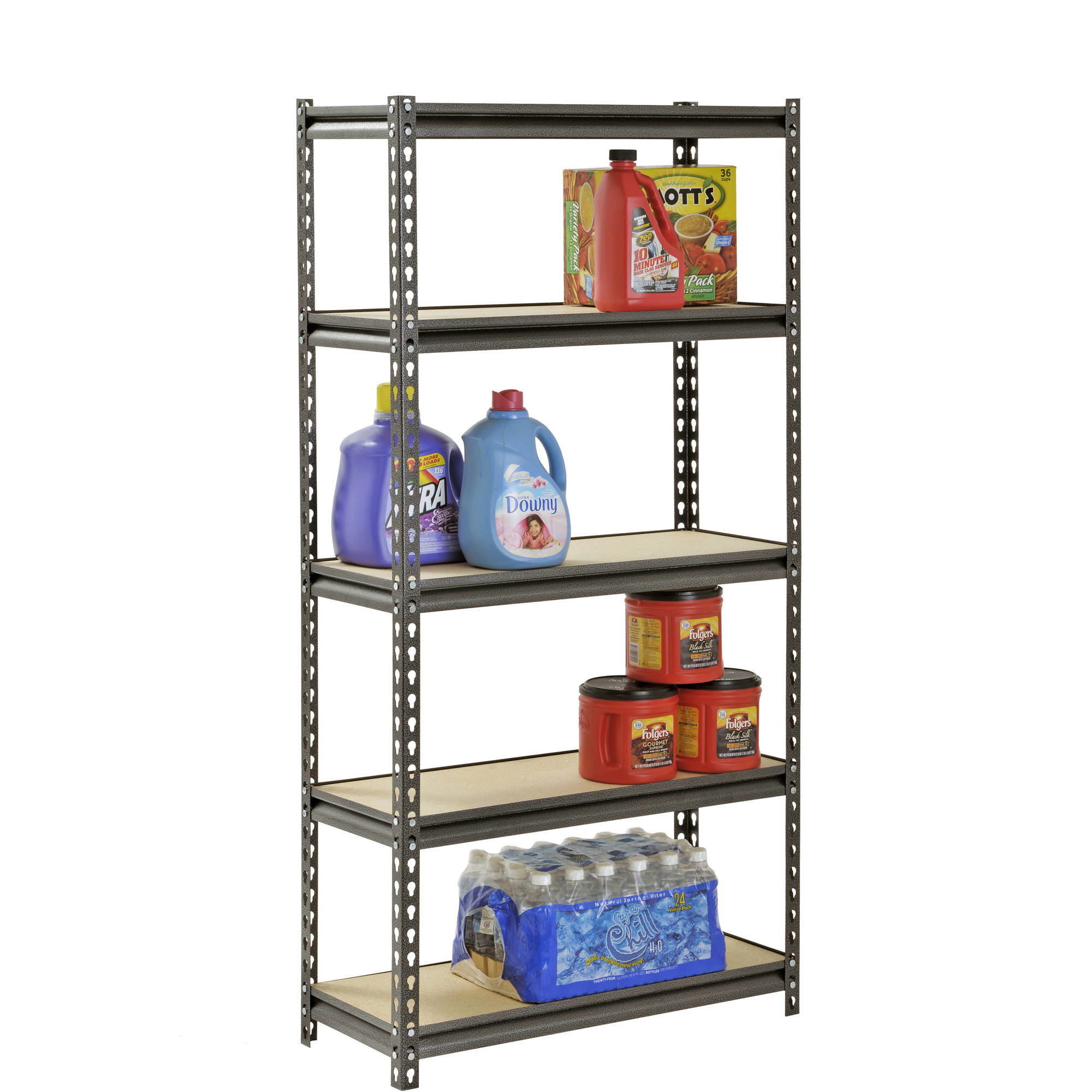 a five-shelf shelving unit with groceries and laundry supplies on it