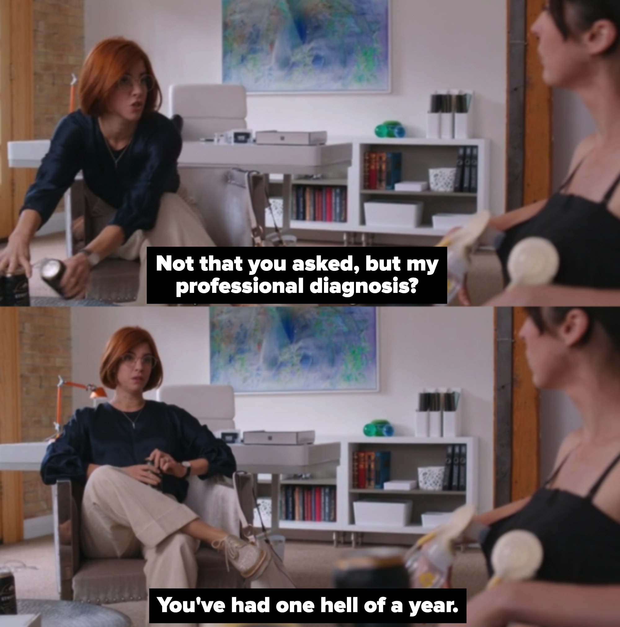 "Kate at the therapist's office in ""Workin' Moms"""