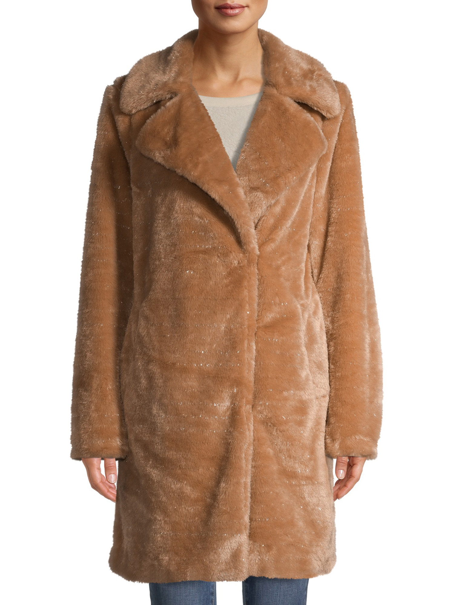 person wearing a beige faux fur coat