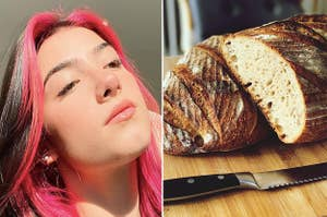 Charli D'Amelio, and a loaf of sourdough bread