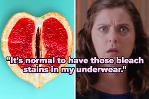 """""""It's normal to have those bleach stains in my underwear"""" over a sliced fruit and a shocked woman"""