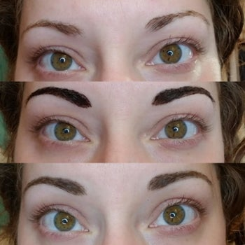 Progression photo of reviewer before, during, and after application showing it looks natural and darkened their brows while adding fullness and shape