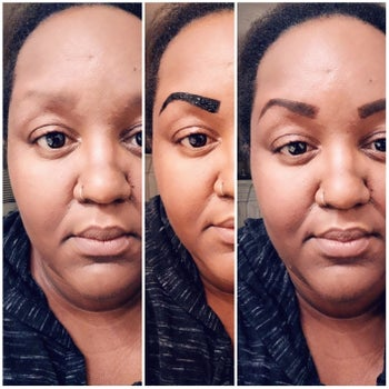 Reviewer with darker skin showing the application process and how it made their barely visible brows look defined