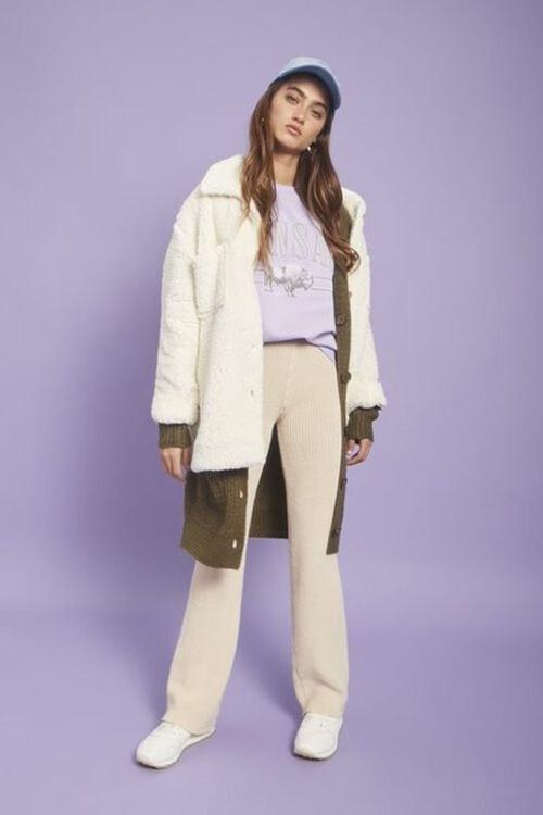 Model in sweater-knit pants