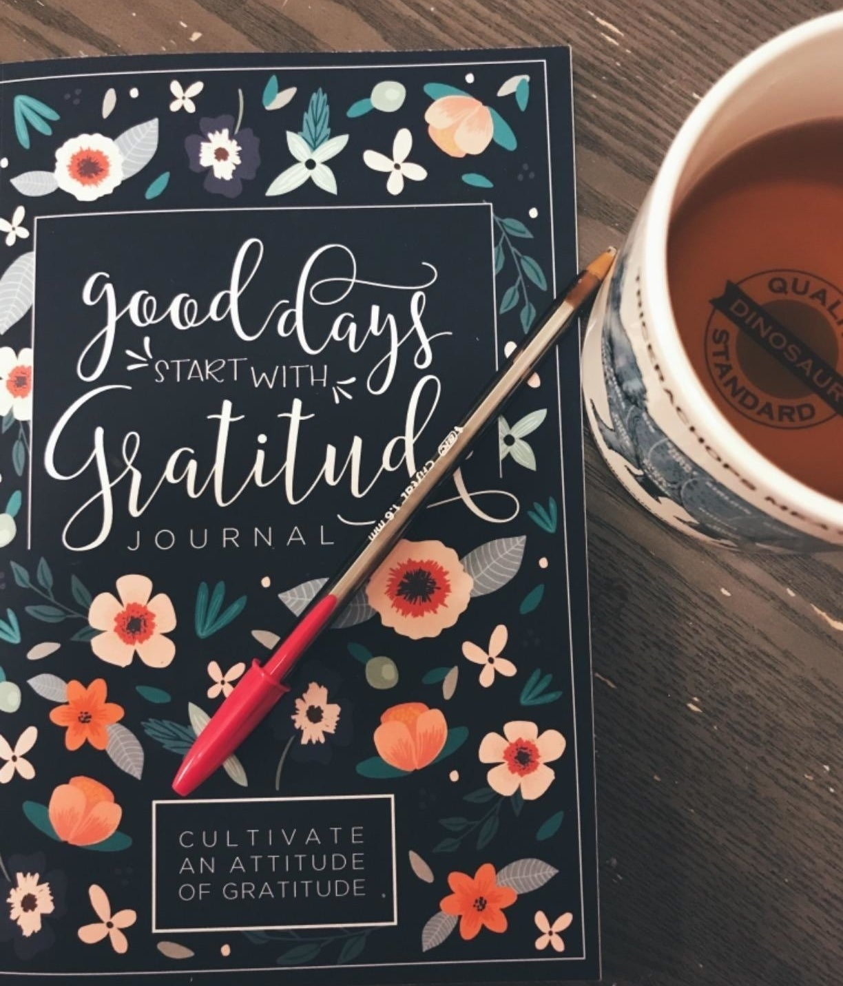 reviewer photo showing gratitude journal with pen next to a cup of tea