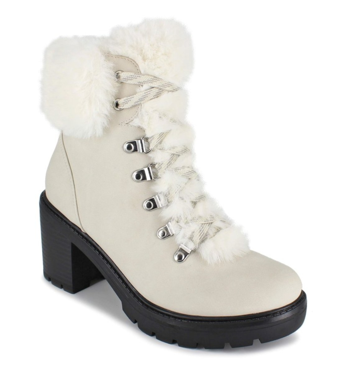 The white, fur-lined boots