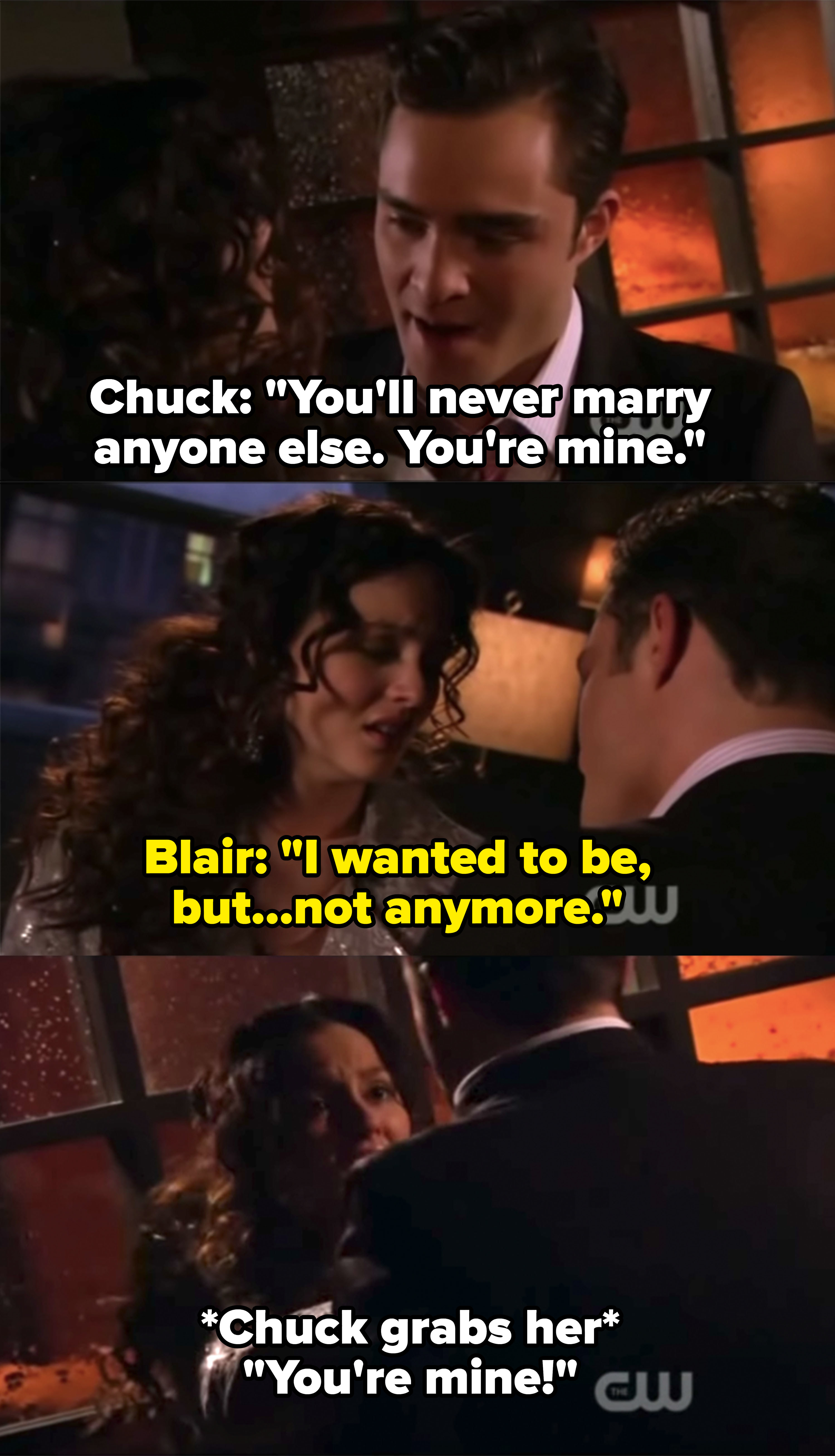 """Chuck grabs Blair and says she can't marry anyone else because she's """"his"""""""