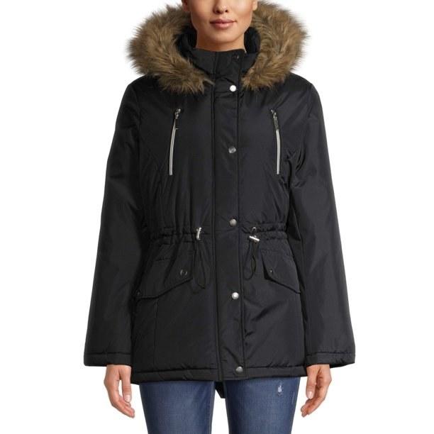 The black heavy coat