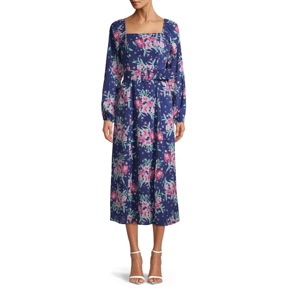 The floral blue dress