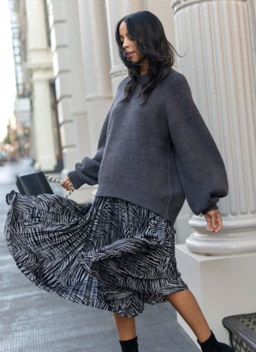 The gray and black striped skirt
