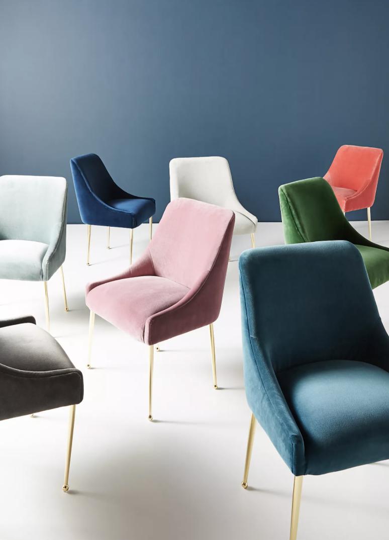 an array of velvet chairs