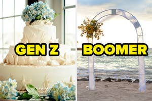 """A seashell-themed wedding cake labeled """"Gen Z"""" and a floral arch labeled """"Boomer"""""""
