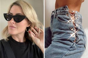 left image: person wears gold hoops, right image: chain link jeans