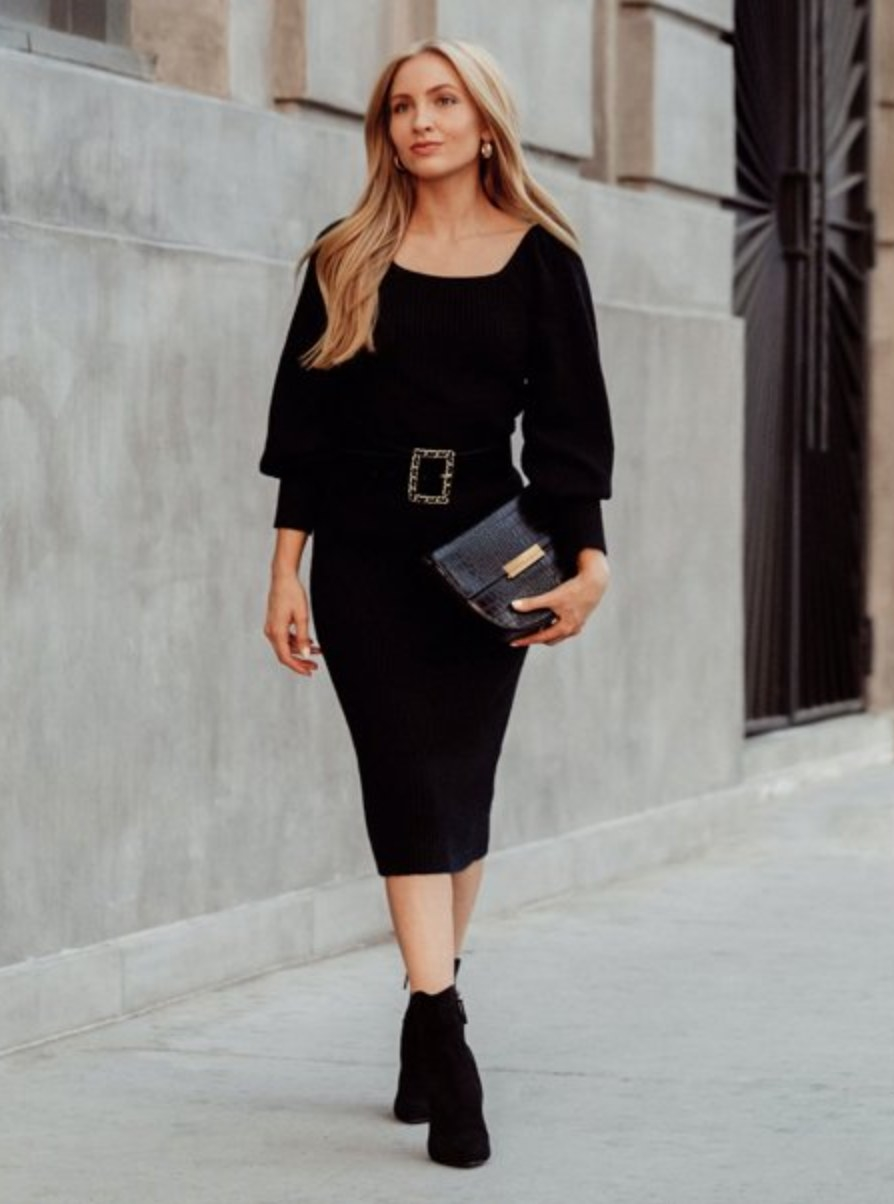 The black ribbed sweater dress