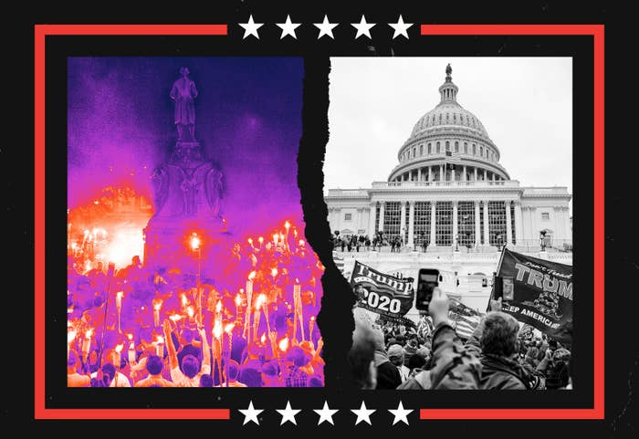 Left: White supremacists carry tiki torches by a statue of Robert E Lee in Charlottesville in 2017; right: Trump supporters outside the Capitol
