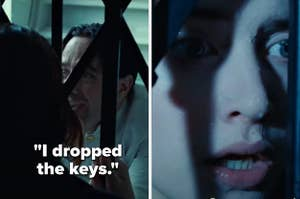In Titanic, the man helping Rose and Jack open the game says he dropped the keys as Rose looks shocked