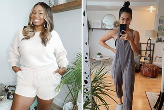 (left) long-sleeved and short set in white (right) overall jumpsuit in grey