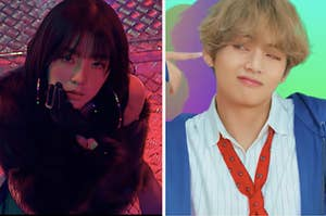 A red velvet music video on the left and a BTS music video on the right