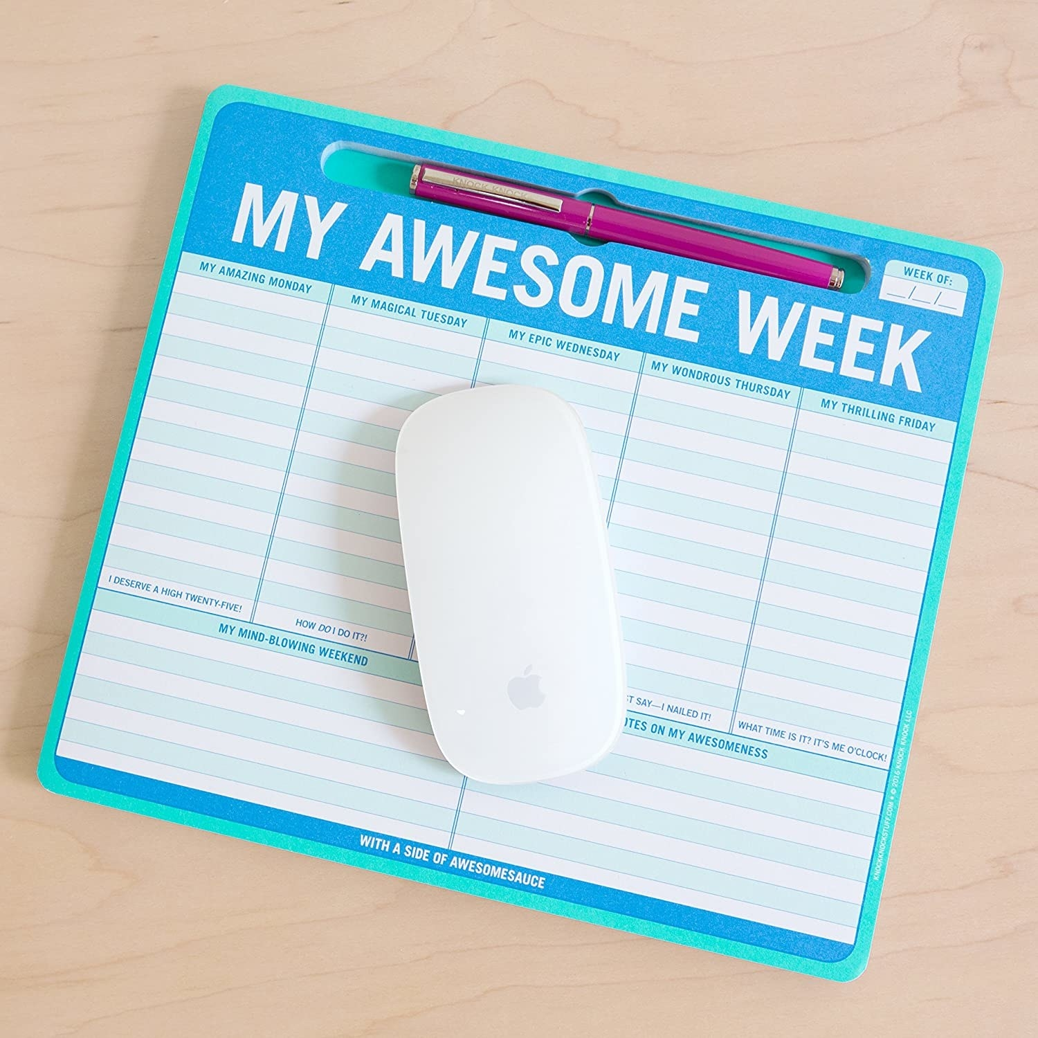 """my awesome week"" pad features sections for weekdays, one for the weekend, and one for notes"