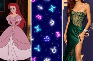 """On the left, Ariel from """"The Little Mermaid"""" wearing a gown, and in the middle, zodiac symbols, and on the right, Zendaya wearing a strapless gown with a silk skirt with a slit"""