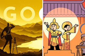 Side-by-side images of a Google doodle on a sunset and incorporated into a stage show