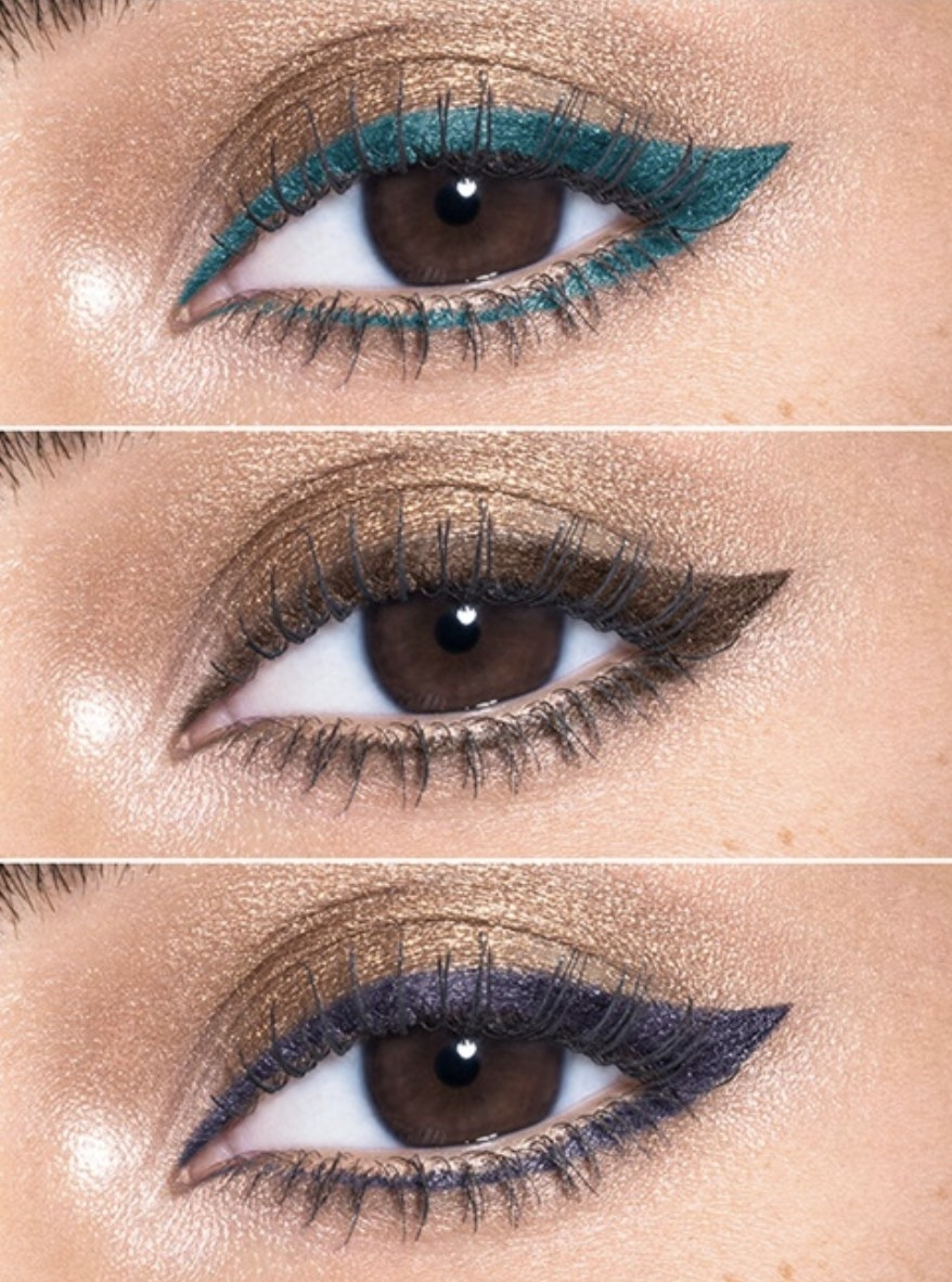 The teal, brown, and purple eyeliner on models