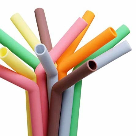 A set of colourful silicone straws