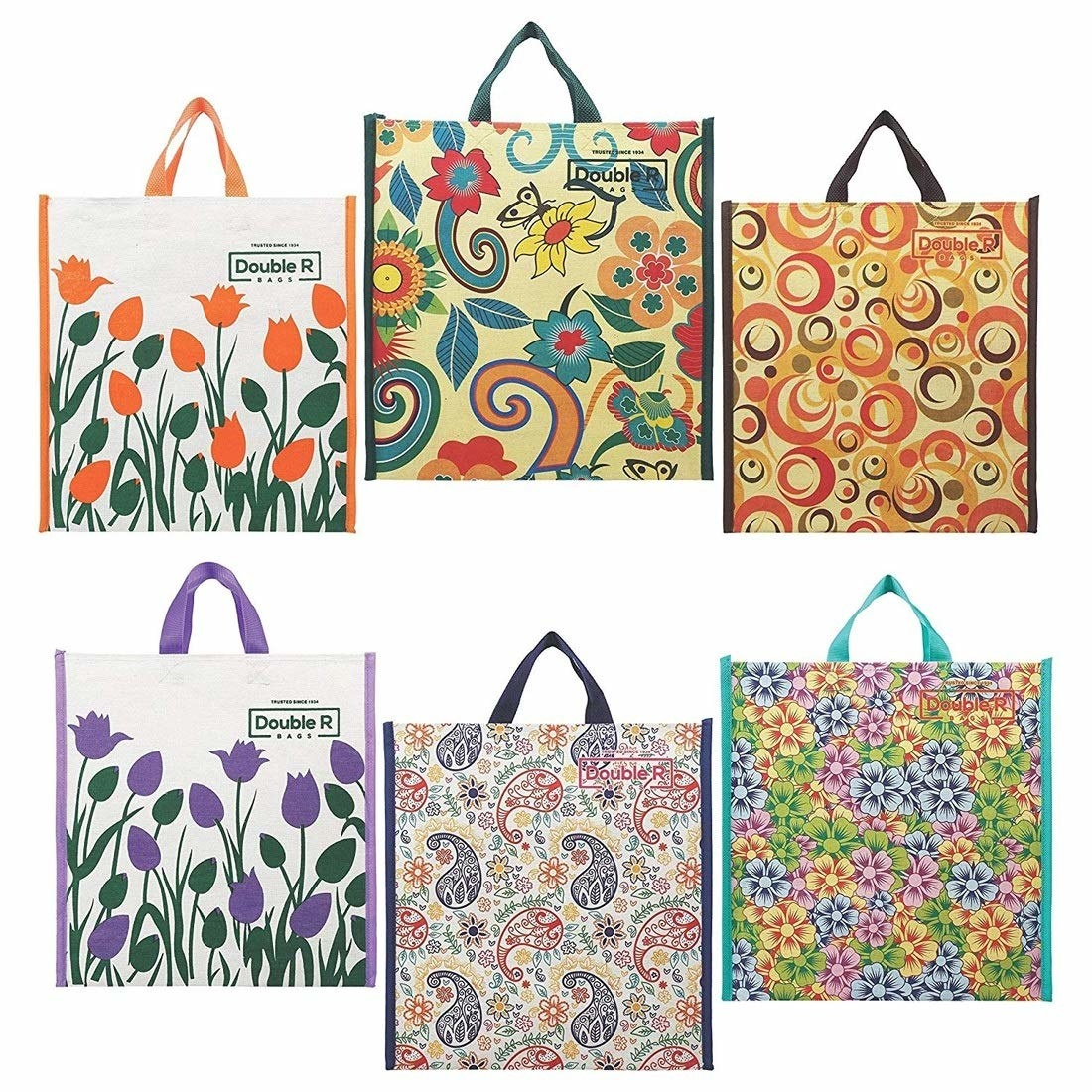A set of 6 colourful canvas bags
