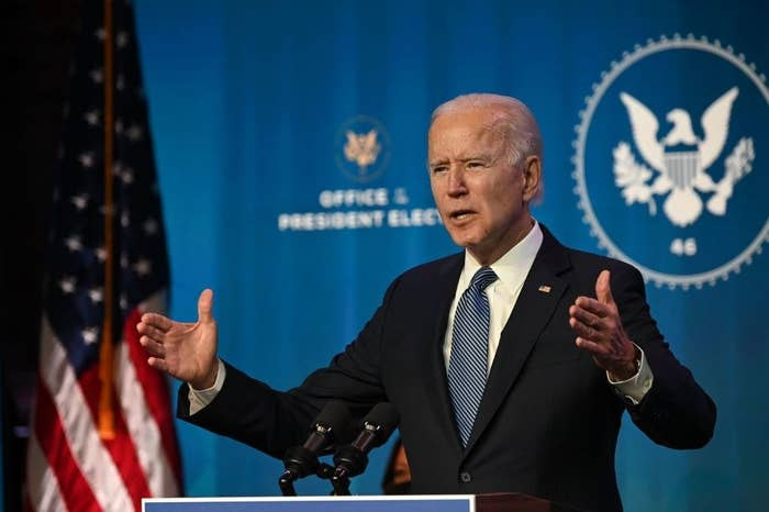 US President-elect Joe Biden speaks at The Queen theater in Wilmington, Delaware