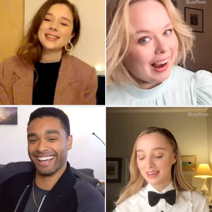 The cast of Bridgerton taking a BuzzFeed quiz