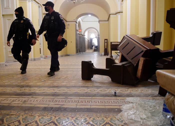 Furniture is seen knocked down inside the US Capitol building after the siege