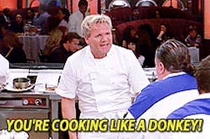 "Gordon Ramsey screaming ""you're cooking like a donkey!"" at a show contestant"