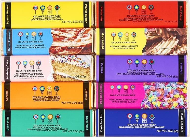 Multiple chocloate bars in multi-colored wrappers