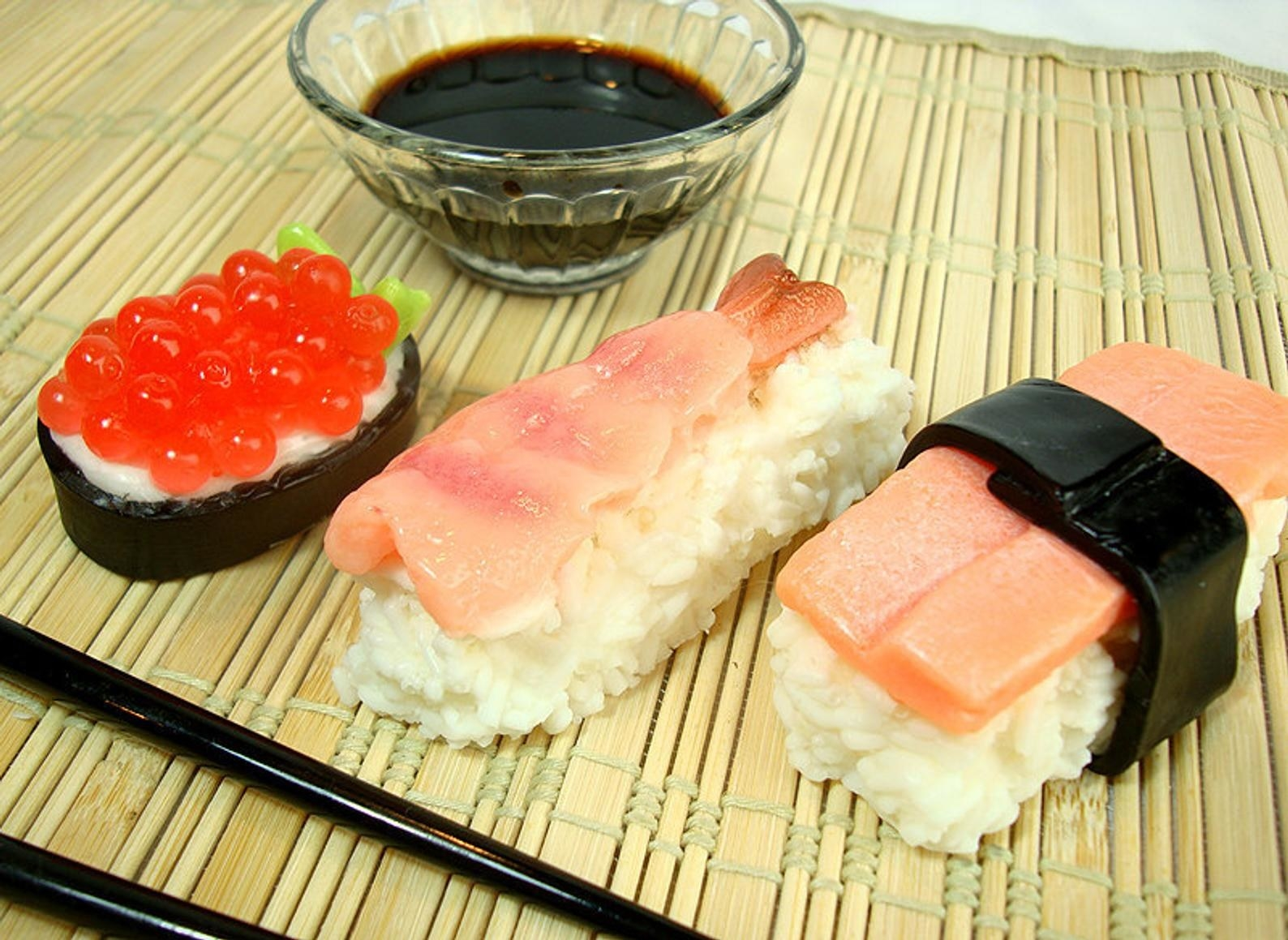 three different types of sushi soap