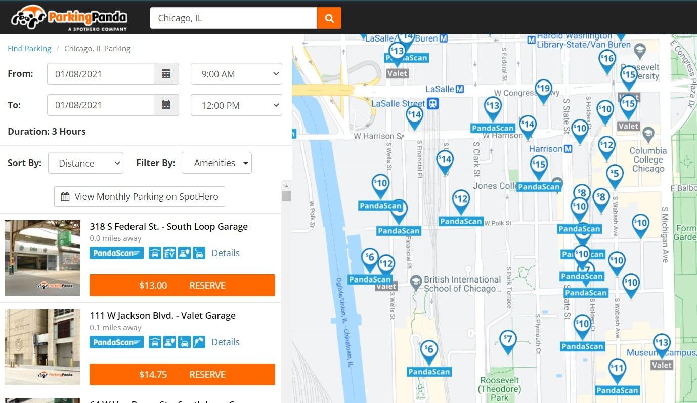 Screenshot of parking options in Chicago, IL using Parking Panda
