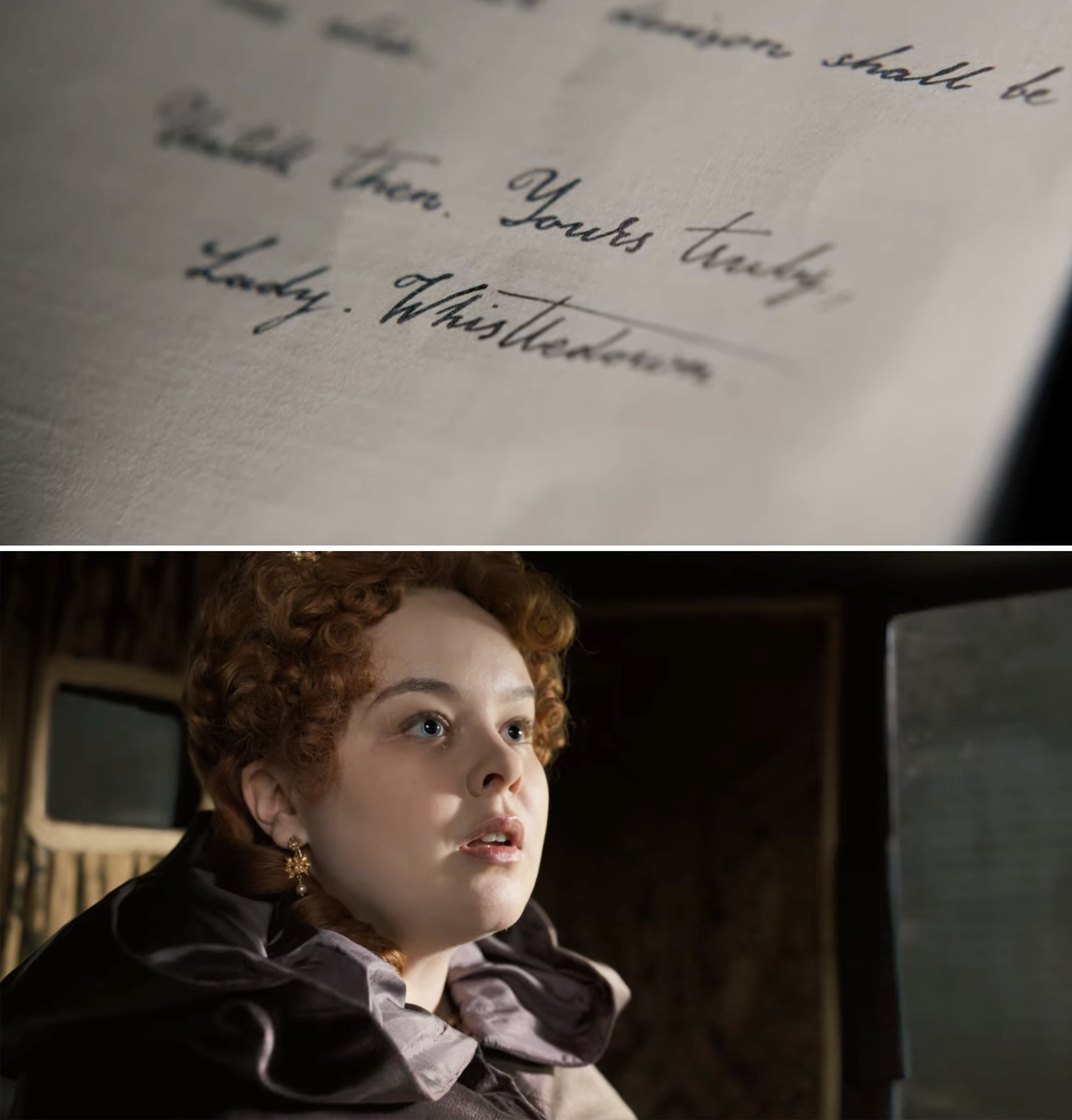 Penelope holding Lady Whistledown papers in a carriage