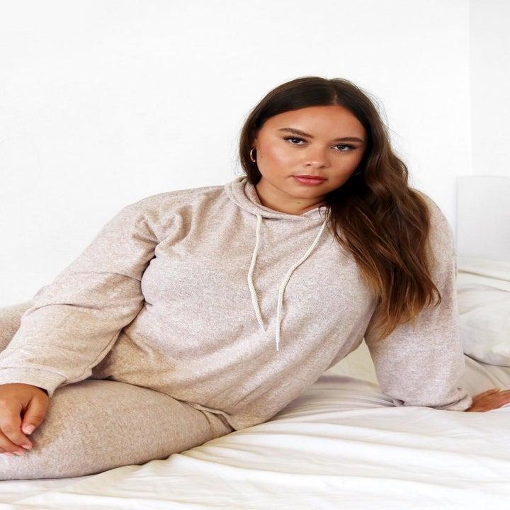 model wearing the drawstring hoodie