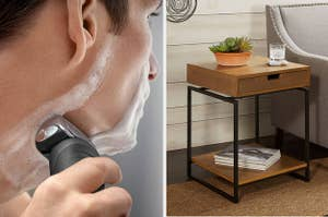 person using an electric razor to shave their face on the left and a wood side table on the right