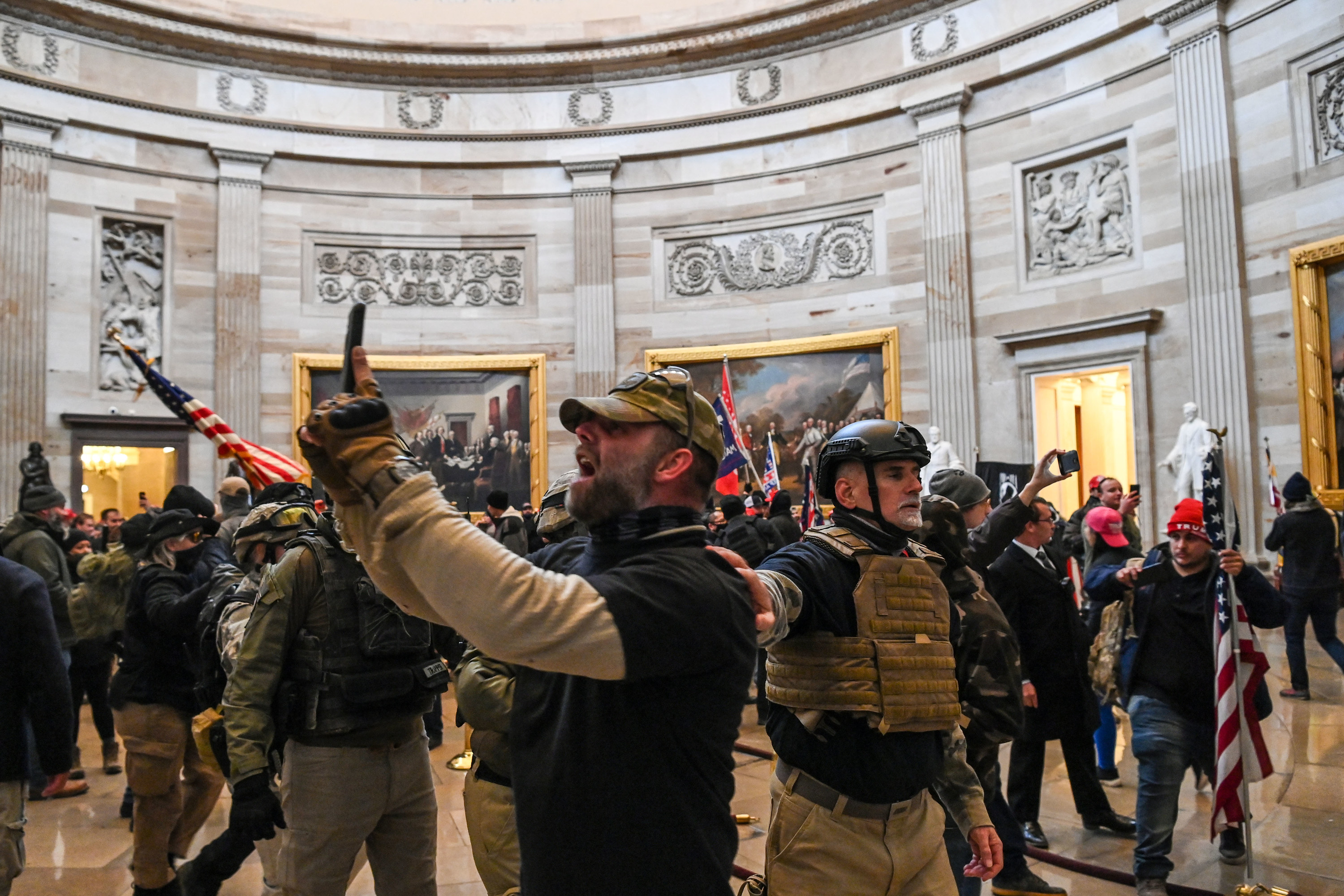 Trump supporters inside the Capitol Rotunda