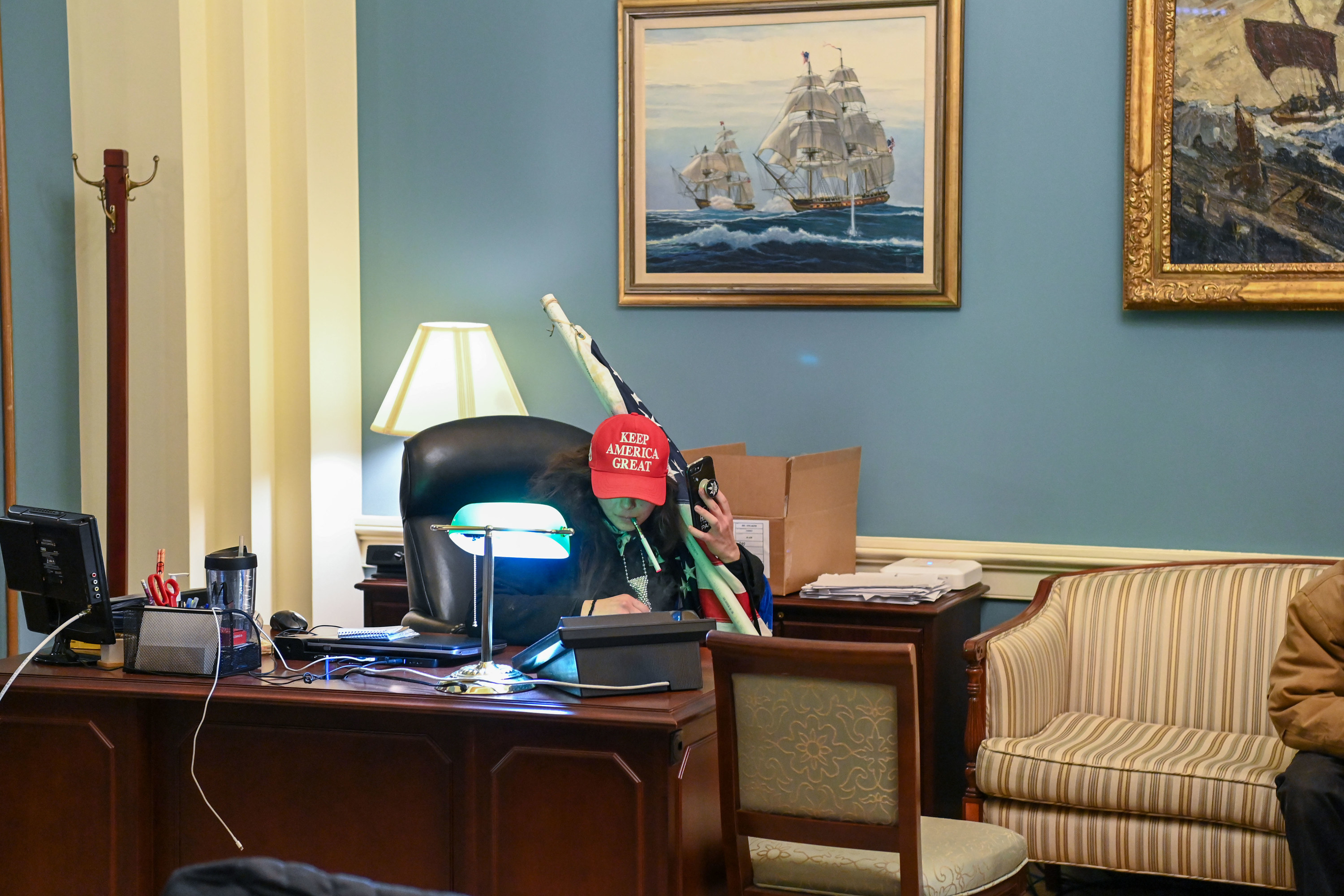 A Trump supporter in the office of a member of Congress