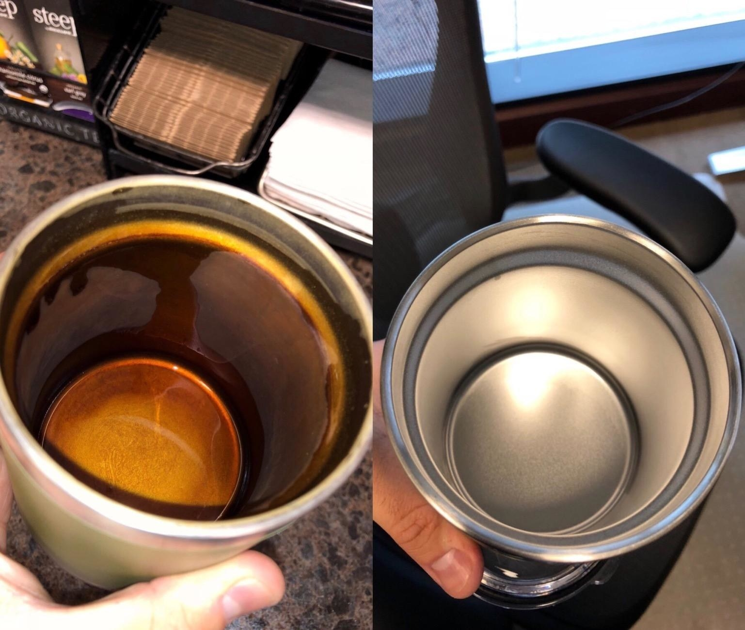 a before and after showing a bottle well cleaned of water stains after the product was used