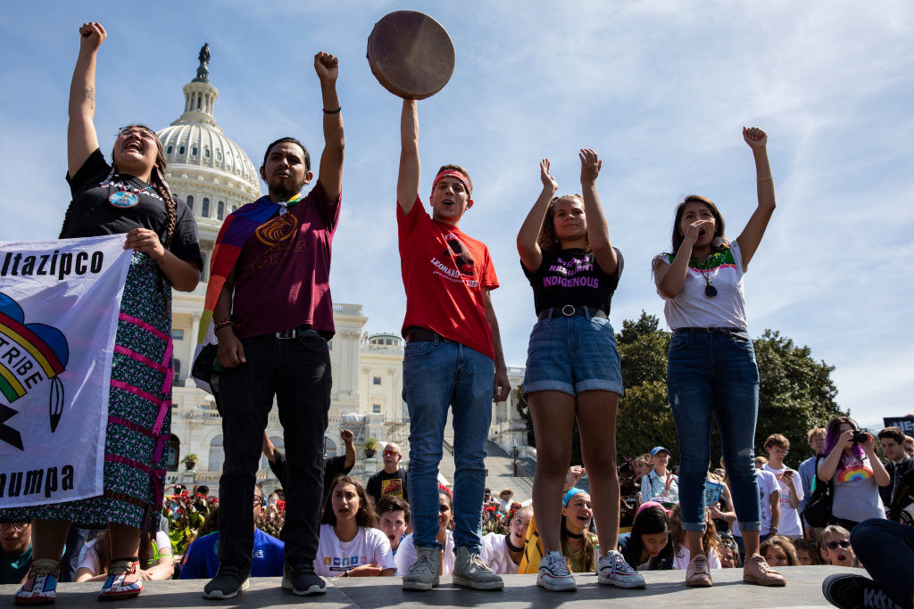 Youth speak in front of the Capitol