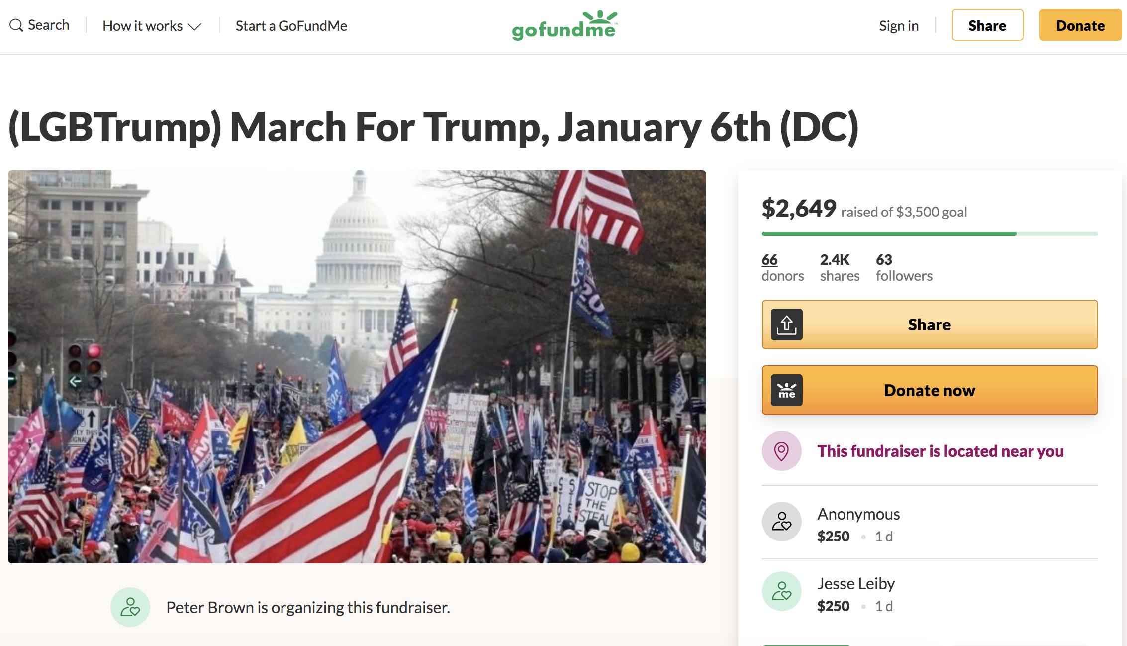 A GoFundMe page called LGBTrump March for Trump