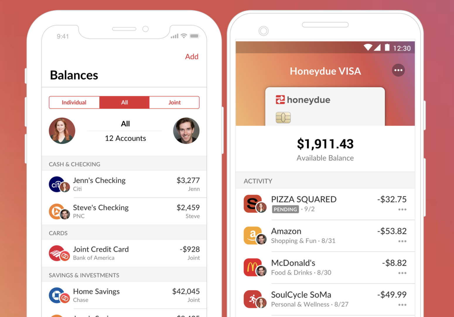 Screenshots of the app showing personal and joint accounts