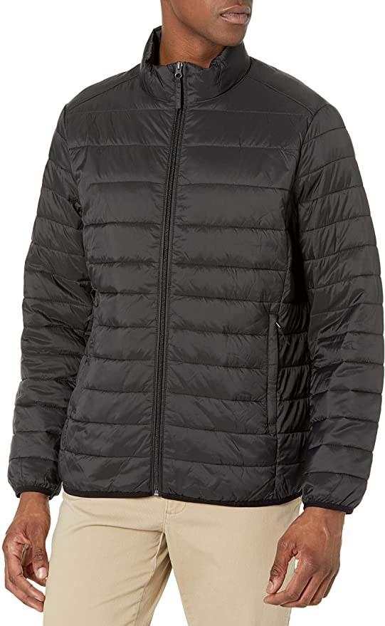 A model wearing the jacket in black