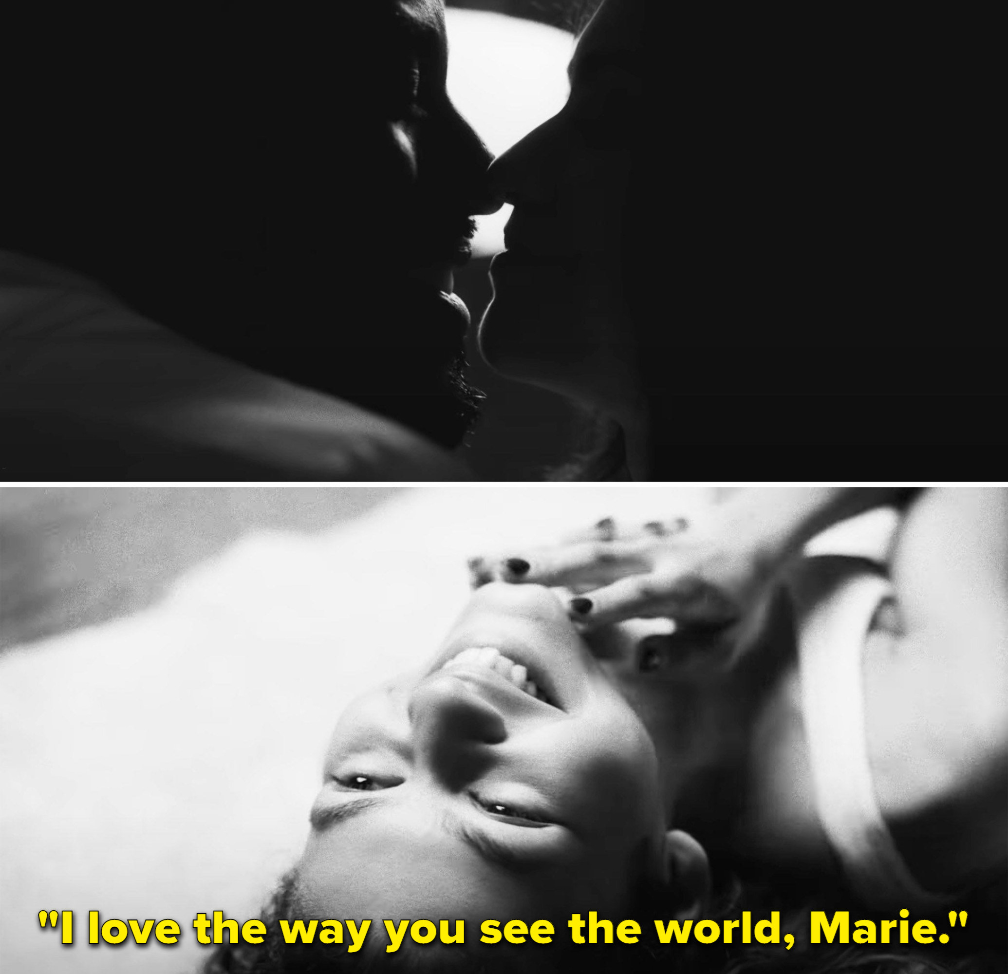 Malcom saying 'I love the way you see the world, Marie'