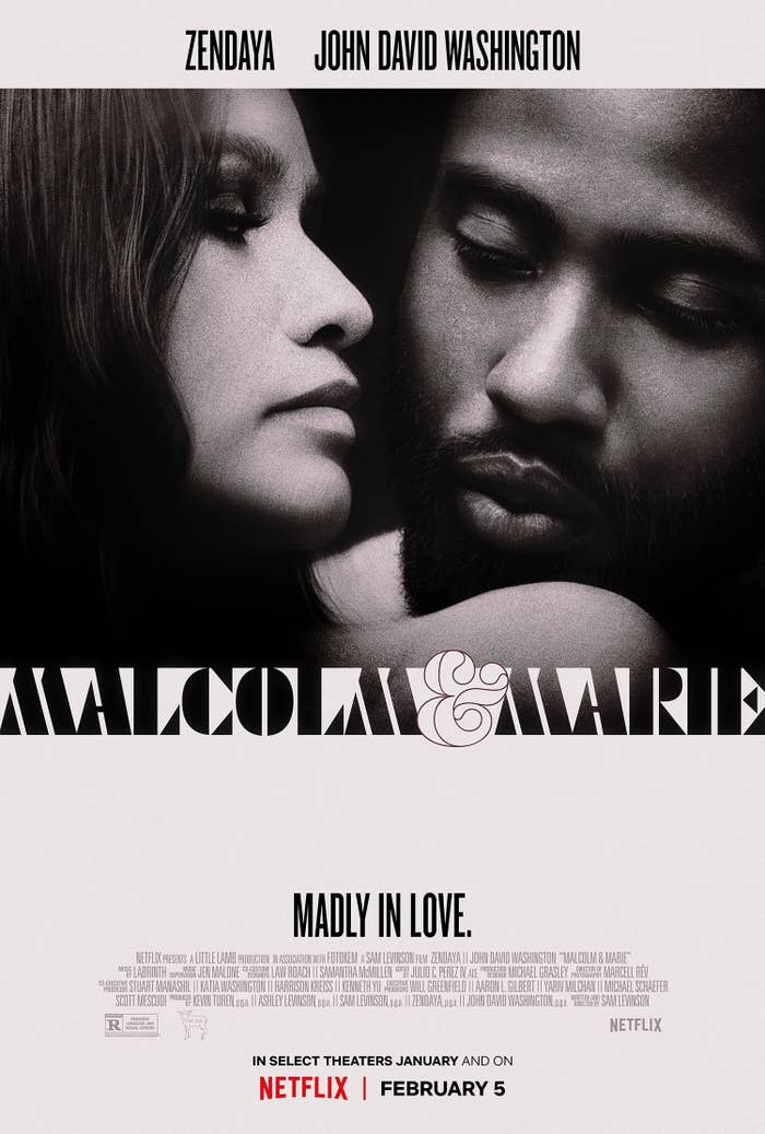 Promotional graphic for Malcom & Marie with the caption 'Madly in Love'