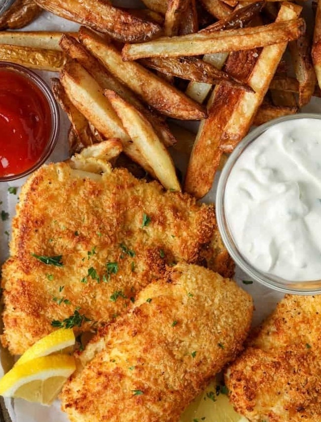 Crispy air fried fish and French fries.